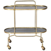 Caboto Smoky Glass and Antique Brass Bar Cart, Medium