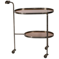 Niagara Smoky Glass and Black Nickel Bar Cart, Large