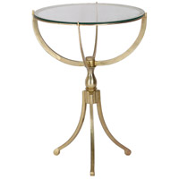 Gendey 24 X 18 inch Antique Brass and Clear Glass Accent Table, Medium