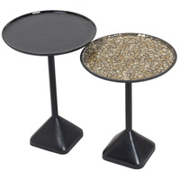 Rawdon 20 X 16 inch Black with Solid Enamel and Mosaic Accent Tables, Small, Set of 2