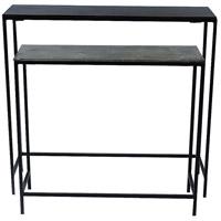 Emily 26 inch Raw Nickel and Copper with Black Console Tables, Medium, Set of 2