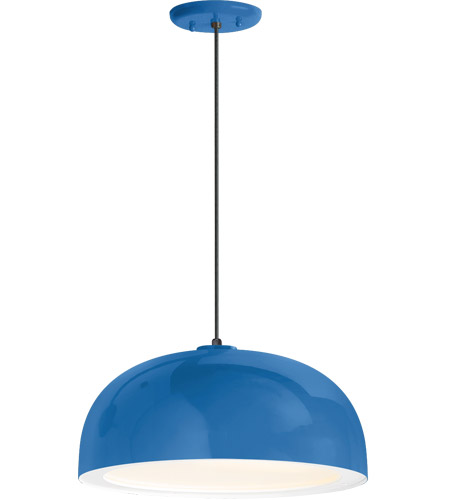 Troy RLM Lighting 5DDM16MBLUWT-BC Dome 1 Light 16 inch Blue Pendant Ceiling Light, Gloss White Glass Solite Diffuser, Modern Visions photo thumbnail