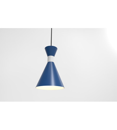Troy RLM Lighting 5DMC10MBLUWT-BC Mid Century 1 Light 10 inch Blue and Gloss White Pendant Ceiling Light photo thumbnail
