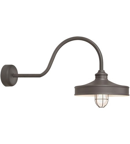 Troy RLM Lighting NC14MFGGTBZ3LL30 Nostalgia 1 Light 14 inch Textured Bronze Wall Sconce Wall Light in 30in Arm, Frosted Glass, RLM Classics photo thumbnail