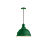 Deep Reflector 1 Light 16 inch Hunter Green Pendant Ceiling Light, RLM Classics