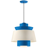 Aero LED 14 inch Blue Pendant Ceiling Light, Semi Gloss White, Modern Visions