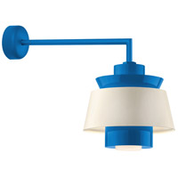 Aero LED 14 inch Blue Wall Sconce Wall Light in 18in Arm, Semi Gloss White, Modern Visions