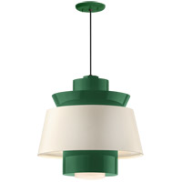 Aero LED 14 inch Hunter Green Pendant Ceiling Light, Semi Gloss White, Modern Visions