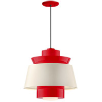 Aero LED 14 inch Red Pendant Ceiling Light, Semi Gloss White, Modern Visions