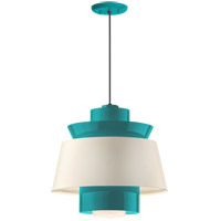 Aero LED 14 inch Tahitian Teal Pendant Ceiling Light, Semi Gloss White, Modern Visions