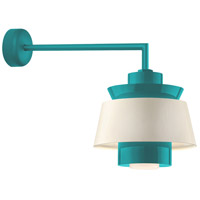 Aero LED 14 inch Tahitian Teal Wall Sconce Wall Light in 18in Arm, Semi Gloss White, Modern Visions
