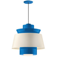 Aero LED 16 inch Blue Pendant Ceiling Light, Semi Gloss White, Modern Visions