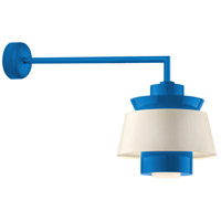 Aero LED 16 inch Blue Wall Sconce Wall Light in 30in Arm, Semi Gloss White, Modern Visions