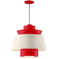 Aero LED 16 inch Red Pendant Ceiling Light, Semi Gloss White, Modern Visions