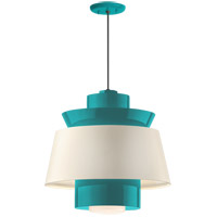 Aero LED 16 inch Tahitian Teal Pendant Ceiling Light, Semi Gloss White, Modern Visions