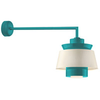 Aero LED 16 inch Tahitian Teal Wall Sconce Wall Light in 30in Arm, Semi Gloss White, Modern Visions