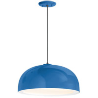 Dome 1 Light 14 inch Blue Pendant Ceiling Light, Gloss White Glass Solite Diffuser, Modern Visions