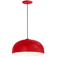 Dome 1 Light 14 inch Red Pendant Ceiling Light, Gloss White Glass Solite Diffuser, Modern Visions