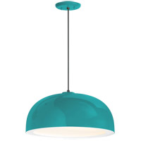 Dome 1 Light 14 inch Tahitian Teal Pendant Ceiling Light, Gloss White Glass Solite Diffuser, Modern Visions