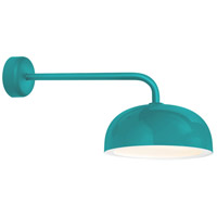 Troy RLM Lighting DM14MTTLWT3LC18 Dome 1 Light 14 inch Tahitian Teal Wall Sconce Wall Light in 18in Arm Gloss White Glass Solite Diffuser Modern