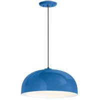 Dome 1 Light 16 inch Blue Pendant Ceiling Light, Gloss White Glass Solite Diffuser, Modern Visions