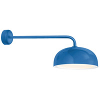 Dome 1 Light 16 inch Blue Wall Sconce Wall Light in 30in Arm, Gloss White Glass Solite Diffuser, Modern Visions