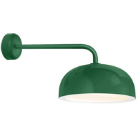 Dome 1 Light 16 inch Hunter Green Wall Sconce Wall Light in 18in Arm, Gloss White Glass Solite Diffuser, Modern Visions