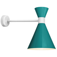 Mid Century 1 Light 10 inch Tahitian Teal and Semi Gloss White Wall Mount Wall Light