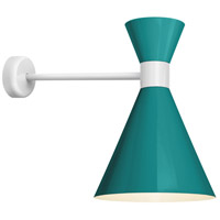 Mid Century 1 Light 12 inch Tahitian Teal and Semi Gloss White Wall Mount Wall Light
