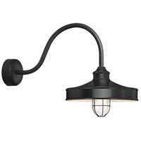 Troy RLM Lighting NC14MFGGBK3LL23 Nostalgia 1 Light 14 inch Black Wall Sconce Wall Light in 23in Arm Frosted Glass RLM Classics