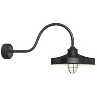Nostalgia 1 Light 14 inch Black Wall Sconce Wall Light in 30in Arm, Frosted Glass, RLM Classics