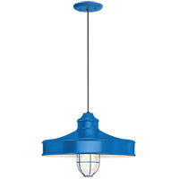 Nostalgia 1 Light 14 inch Blue Pendant Ceiling Light, Frosted Glass, RLM Classics