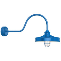 Troy RLM Lighting NC14MFGGBLU3LL30 Nostalgia 1 Light 14 inch Blue Wall Sconce Wall Light in 30in Arm Frosted Glass RLM Classics