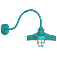 Nostalgia 1 Light 14 inch Tahitian Teal Wall Sconce Wall Light in 30in Arm, Frosted Glass, RLM Classics