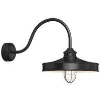 Nostalgia 1 Light 16 inch Black Wall Sconce Wall Light in 30in Arm, Frosted Glass, RLM Classics
