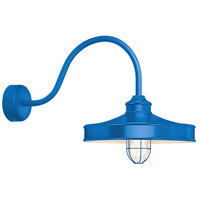 Nostalgia 1 Light 16 inch Blue Wall Sconce Wall Light in 23in Arm, Frosted Glass, RLM Classics