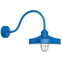 Troy RLM Lighting NC16MFGGBLU3LL30 Nostalgia 1 Light 16 inch Blue Wall Sconce Wall Light in 30in Arm, Frosted Glass, RLM Classics
