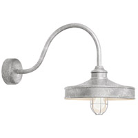 Nostalgia 1 Light 16 inch Galvanized Wall Sconce Wall Light in 23in Arm, Frosted Glass, RLM Classics