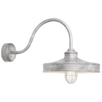 Nostalgia 1 Light 16 inch Galvanized Wall Sconce Wall Light in 30in Arm, Frosted Glass, RLM Classics