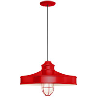 Troy RLM Lighting 5DNC16MFGGRD-BC Nostalgia 1 Light 16 inch Red Pendant Ceiling Light Frosted Glass RLM Classics