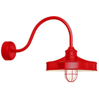Nostalgia 1 Light 16 inch Red Wall Sconce Wall Light in 23in Arm, Frosted Glass, RLM Classics