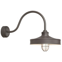 Nostalgia 1 Light 16 inch Textured Bronze Wall Sconce Wall Light in 23in Arm, Frosted Glass, RLM Classics