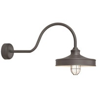 Nostalgia 1 Light 16 inch Textured Bronze Wall Sconce Wall Light in 30in Arm, Frosted Glass, RLM Classics