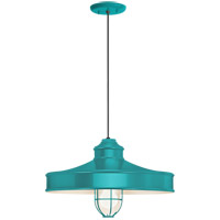 Troy RLM Lighting 5DNC16MFGGTTL-BC Nostalgia 1 Light 16 inch Tahitian Teal Pendant Ceiling Light Frosted Glass RLM Classics