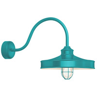 Troy RLM Lighting NC16MFGGTTL3LL30 Nostalgia 1 Light 16 inch Tahitian Teal Wall Sconce Wall Light in 30in Arm, Frosted Glass, RLM Classics