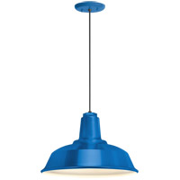 Heavy Duty 1 Light 16 inch Blue Pendant Ceiling Light, RLM Classics