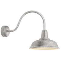 Heavy Duty 1 Light 16 inch Galvanized Wall Sconce Wall Light in 23in Arm, RLM Classics