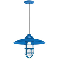 Retro Industrial 1 Light 13 inch Blue Pendant Ceiling Light, Clear Glass, RLM Classics