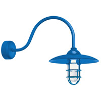 Troy RLM Lighting RID13MBLU2LL23 Retro Industrial 1 Light 13 inch Blue Wall Sconce Wall Light in 23in Arm Clear Glass RLM Classics
