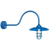 Troy RLM Lighting RID13MBLU2LL30 Retro Industrial 1 Light 13 inch Blue Wall Sconce Wall Light in 30in Arm Clear Glass RLM Classics